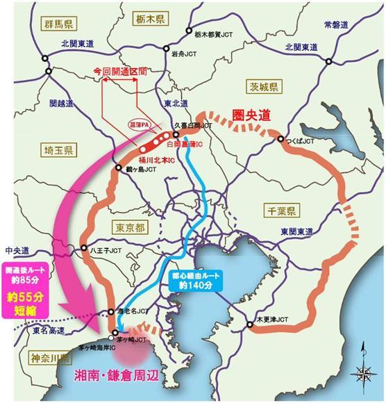 圏央道の開通により、久喜白岡JCTから茅ケ崎海岸までの所要時間が約55分短縮される(国土交通省の資料より)