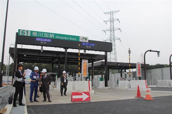 報道陣に公開された10月31日に開通する圏央道の桶川加納IC=埼玉県桶川市