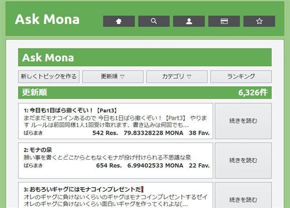掲示板サイト「Ask Mona」。「モナコインをばらまく」人が多数いる