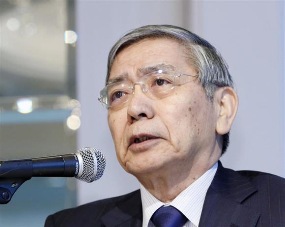 講演する日銀の黒田東彦総裁=7日午後、東京都内のホテル