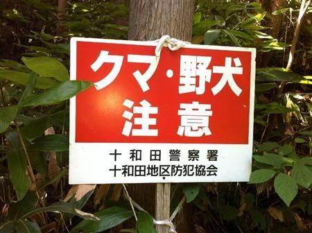 写真を拡大する 奥羽山系のブナ林の中に立てられた「クマ・野犬注意」の看板(寺田理恵撮影... ク