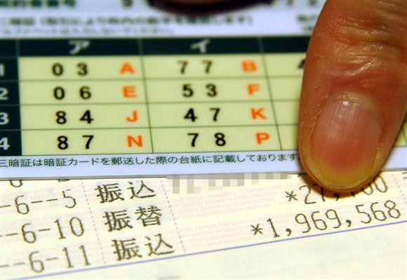 ネットバンキングを利用している都市銀行から送られてきた乱数表と、通帳に残る不正送金の振込記録。振込先は見知らぬ人の個人口座だった=大阪市内(一部画像処理しています)