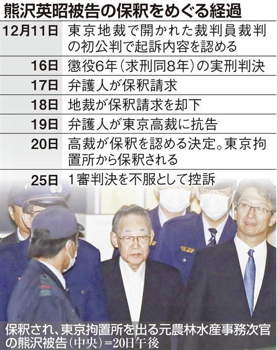 熊沢英昭被告の保釈をめぐる経過 殺人罪で実刑 元農水次官の保釈 ...