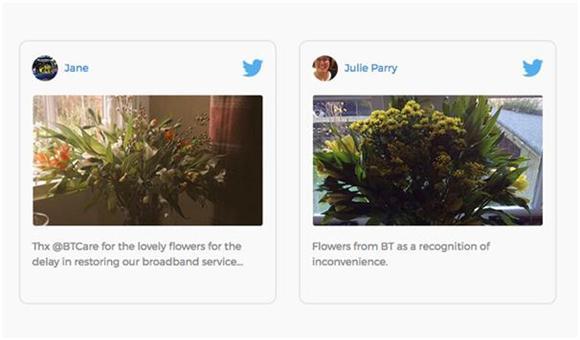 おわびとして送られた花の写真とポジティブなメッセージをツイートするBT顧客