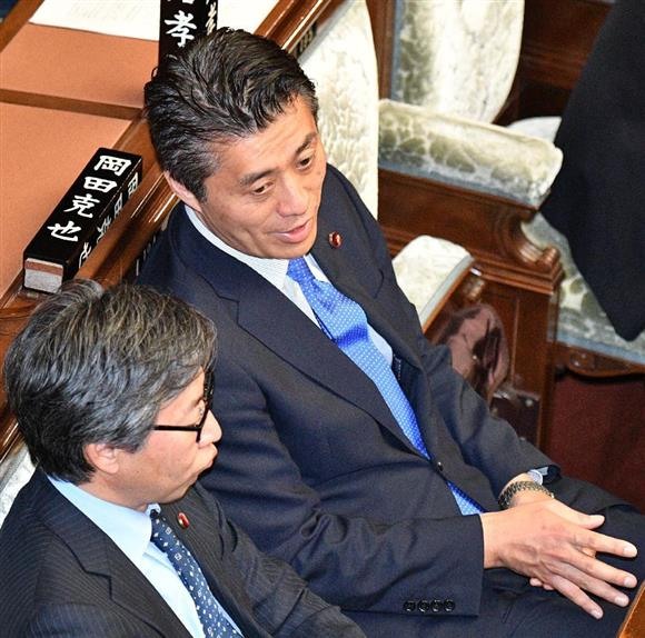 民進・安住淳氏、柿沢未途氏の妻...