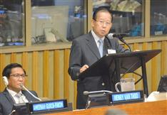 「国土強靱化」世界へ 伝道師・二階氏、国連「水と災害」会合で講演
