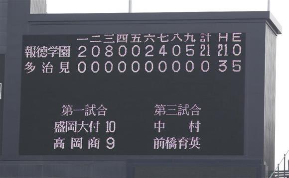 第89回選抜高校野球 報徳学園(兵庫)‐多治見(岐阜) 21-0を示すスコアボード=甲子園球場(村本聡撮影)