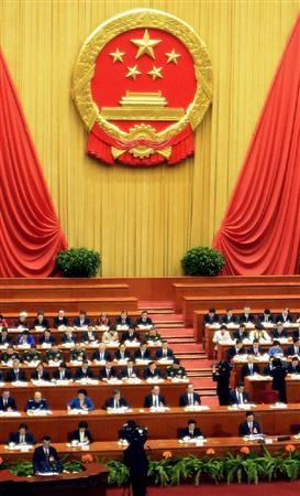 このニュースへ 北京の人民大会堂で開幕した中国全人代=5日(共同)  中国全人代 高度経済成長時